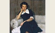 Борис Корнеев. Портрет художницы Марины Козловской. Х.м.,105х83. 1954
