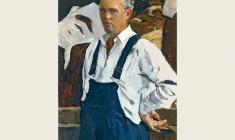 Борис Корнеев. Автопортрет. Х.м.,100х65. 1961