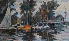 Александр Коровяков. Яхты. Карт.м.,32х48. 1969