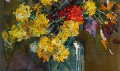 Александр Коровяков. Цветы. Карт.м.,70х50. 1977