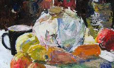 Александр Коровяков. Натюрморт с капустой. Карт.м.,50х40. 1972