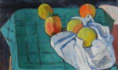 Геворк Котьянц. Персики на зелёной скатерти.  Х.м.,41,5х48,5. 1960
