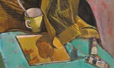 Геворк Котьянц. Натюрморт с книгой и красками. Х.м.,47х50. 1970