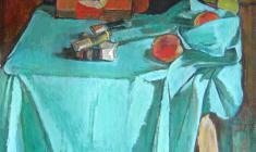 Геворк Котьянц. Натюрморт с красками. Х.м.,57х61. 1972