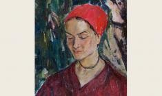 Валерия Ларина. Девушка под кипарисом. Х.м.,50х40,5. 1972