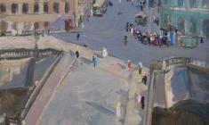 Пётр Литвинский. Вид из окна на канале Грибоедова (Кокушкин мост). Х.м.,63,3х41,5. 1957