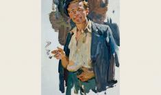 Олег Ломакин. Курящий мужчина. Карт.м.,48х33. 1961