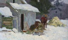 Маевский Д. Зимний этюд с санями.1960