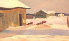 Дмитрий Маевский. Январское солнце. Х.м.,24,5х49,5. 1966