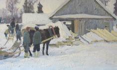 Дмитрий Маевский. Зимний день. Х.м.,40х80. 1966