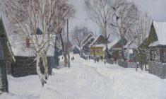 Дмитрий Маевский. Тёплая зима. Х.м.,50х60. 1970
