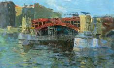 Николай Мухо. Строительство моста через Неву. Карт.м.,28,5х40,5. 1959