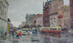 Николай Мухо. Лиговский проспект в Ленинграде. Карт.м.,35х50. 1966