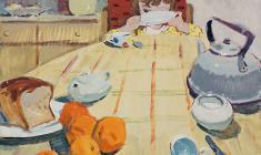 Вера Назина. Завтрак. Карт.,темп.,54х68. 1961