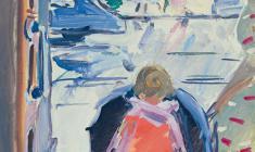 Вера Назина. Ребёнок с зонтиком. Бум.,темп.,47х34,5. 1962