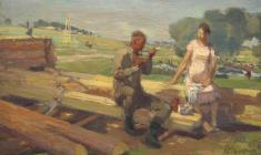 Михаил Натаревич. Возвращение. Х.м.,39,5х55,5. 1947