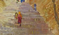Александр Наумов. Лестница в Самарканде. Карт.м.,72х52. 1967