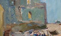 Александр Наумов. Самарканд. Рынок. Карт.м.,35х24. 1964