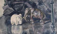 Самуил Невельштейн. Натюрморт со слониками. Бум.,акв.,31х42. 1929
