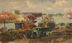 Анатолий Ненартович. На Неве. Карт.м.,20,3х32,7. 1949