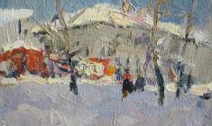 Дмитрий Обозненко. Зима. Карт.м.,12х17. 1955