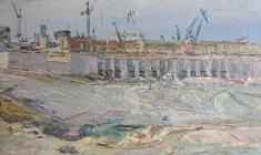 Владимир Овчинников. Братская гидроэлектростанция. Карт.м.,35х48. 1958