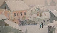 Владимир Овчинников. В древнем городе Старица. Х.м.,60х70. 1974
