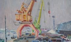 Владимир Овчинников. В порту. Карт.м.,35х50. 1956