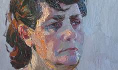 Владимир Овчинников. Портрет жены. Карт.м.,29,5х31,5. 1972