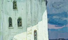 Владимир Овчинников. Храм Георгия Победоносца  в Старой Ладоге. Х.м.,65,5х46. 1971