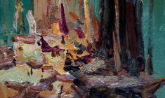 Владимир Овчинников. Вечереет. Каспийское море. Карт.м.,33,8х24,5. 1958