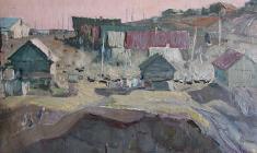 Владимир Овчинников. Деревня Пристанное. Карт.м.,33х47,5. 1958