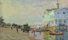 Владимир Овчинников. Пристань в Каневе. Карт.м.,35х50. 1957
