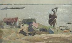 Владимир Овчинников. Ветреный день на Волге. Х.м.,69х84. 1970