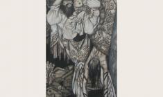 Олег Гуренков. Русские Горки. Бум.кар.бел.,36х60. 2000. Фрагмент