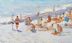 Лев Орехов. Пляж. Карт.м.,35х48. 1959