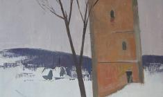 Сергей Осипов. Изборск. Башня XVII века. Х.м.,74х52. 1967