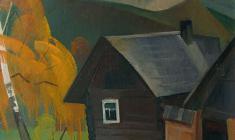 Сергей Осипов. Пейзаж с крепостью. Х.м.,66,5х57,5. 1974