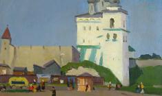 Сергей Осипов. Рынок в Пскове. Х.м.,50х68,5. 1959