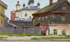 Сергей Осипов. Псковская улочка. Карт.м., 35х50. 1951