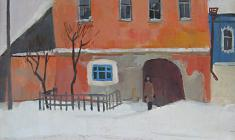 Сергей Осипов. Старица.Розовый дом. Х.м.,70,5х51,5. 1977