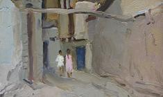 Виктор Отиев. Старый Ташкент. Карт.,м.,33,5х24,5.,1959