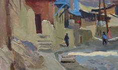 Виктор Отиев. Старый Тбилиси. Карт.м.,31х24. 1959