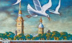 Валерий Есауленко. Петербург. Чайки Бумага, акварель, акрил. 2010