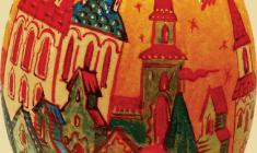 Ольга Ческидова. Георгий Победоносец. Скорлупа яйца страуса, м. 2010