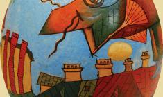 Александр Хагемейстер. Пасхальное яйцо «Хранитель города. Скорлупа яйца страуса, м. 2010
