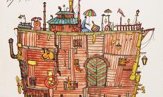 """Александр Хагемейстер. Триптих """"Ноев ковчег."""" Бум, офорт., 50х40. 201"""