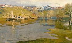 Евгений Поздняков. Наводнение. Х.м.,51х96. 1963