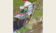 Николай Позднеев. На скамейке. Х.м.,74х47. 1960