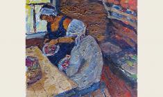 Николай Позднеев. Переборка ягод. Карт.м.,39,5х36. 1966